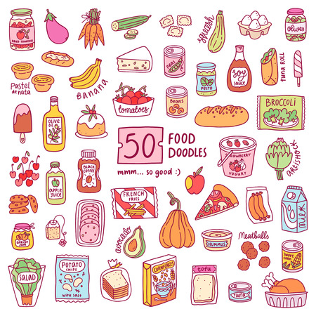 Set of 50 isolated food doodles, vector illustrations Vetores
