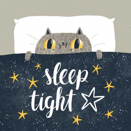 Sleep tight, cat in bed children illustration Stock Photo