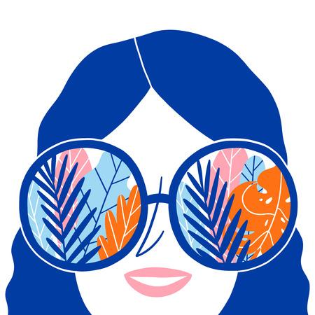 Summer in sunglasses, vector illustration