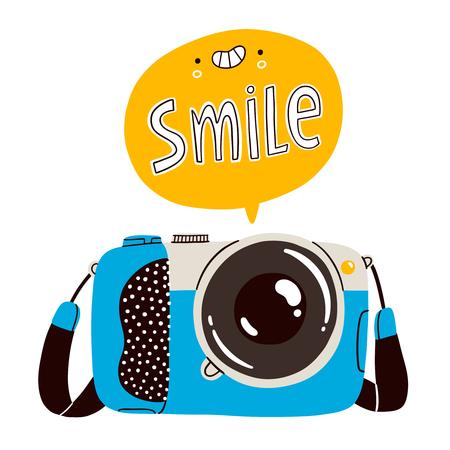 Smile, cartoon camera vector illustration