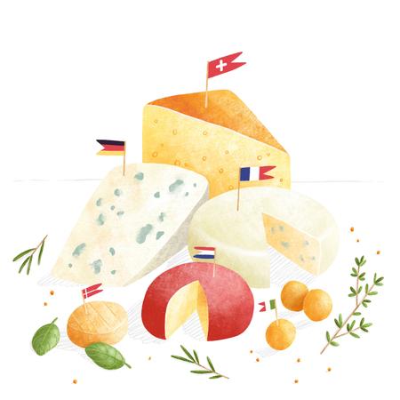 European cheese set illustration