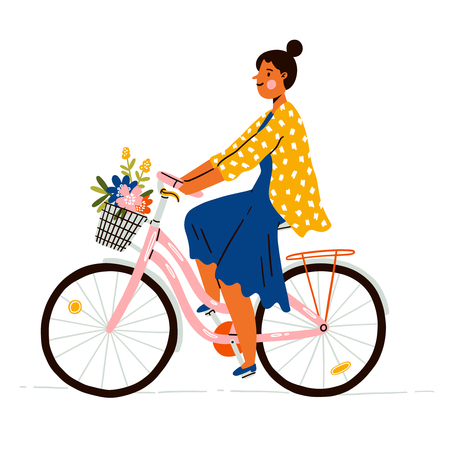 Girl on a bicycle with flowers, vector illustration Illustration