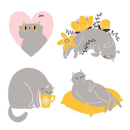 Cute british shorthair cat vector collection Stock Illustratie