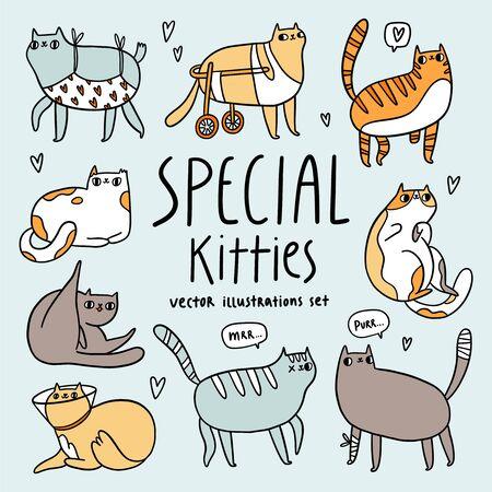 Cute special cats cartoon vector illustrations set