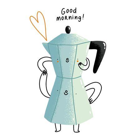 Good morning, cute cartoon coffee pot, vector illustration 일러스트