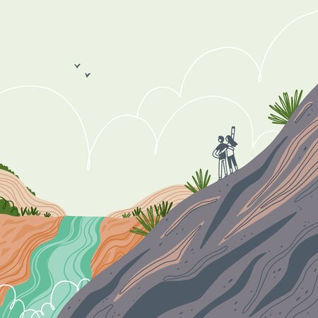 Two people hiking mountain, exploring fantastic landscapes, travel vector illustration