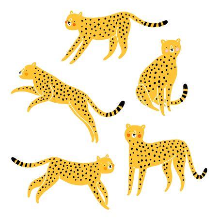 Five cute cheetahs, yellow with red cheeks, cartoon vector set