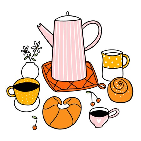 Doodle breakfast, good morning, cherry, bun, croissant, flowers and a lot of coffee, vector illustration