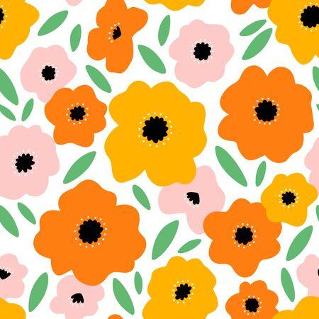 It feels like summer, beautiful bright big flowers vector seamless pattern Иллюстрация