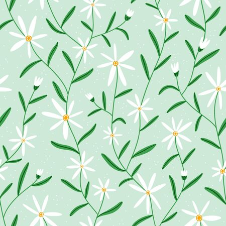 Pretty little white daisy flowers on mint background, vector seamless pattern