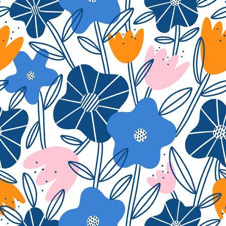Abstract flower garden, blue, pink and orange floral blossoms, vector seamless pattern Иллюстрация