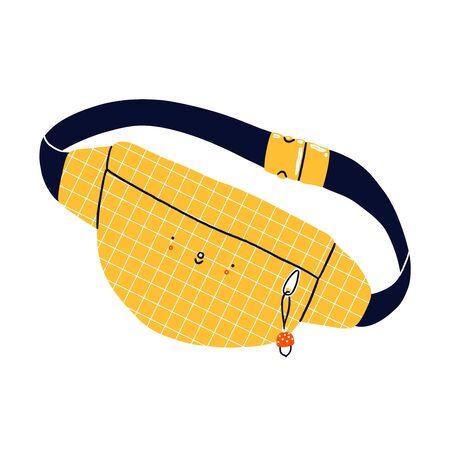 Yellow belt purse with mushroom keychain, cute cartoon vector character, isolated illustration