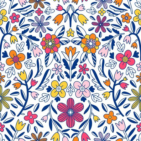 Abstract floral symmetrical, ornamental motives with flowers, vector seamless pattern
