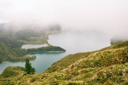 Lagoa do fogo, lake in a volcano crater, Azores, Portugal