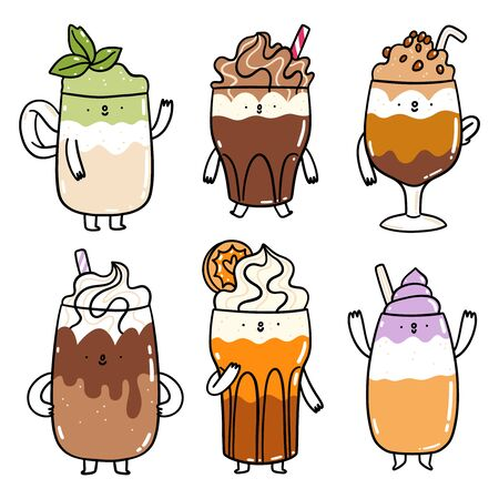 Different types of coffee drinks, cute cartoon characters vector set