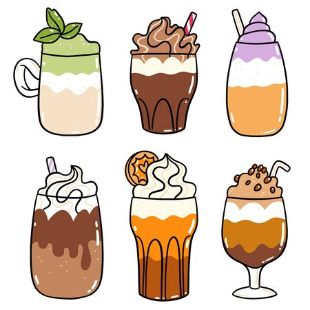 Different types of coffee drinks, cartoon vector set, isolated on white Illustration