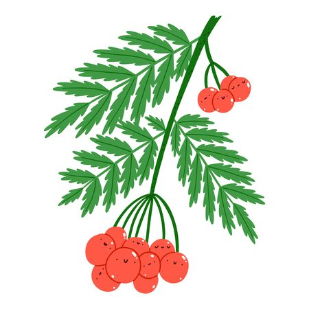 Red rowan berries cute vector characters illustration, isolated on white Иллюстрация