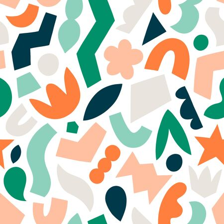 Cut and stick fun abstract shapes seamless vector pattern, isolated on white background