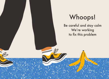 Error page with a danger of slip on a banana peel, vector background illustration
