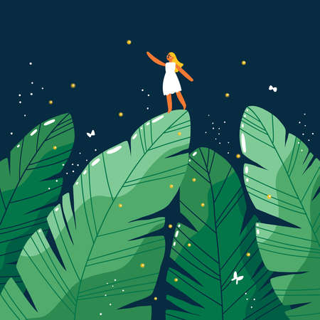 Tiny girl in white dress in a jungle forest at night, cartoon vector illustration