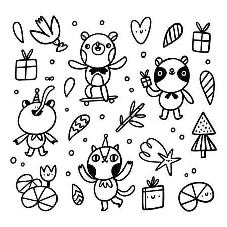 Cute doodle animal characters, frog, bear, cat and panda, vector illustrations set Иллюстрация