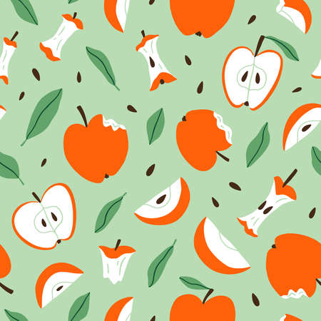 Eaten, bitten and sliced apples, vector seamless pattern on light green background