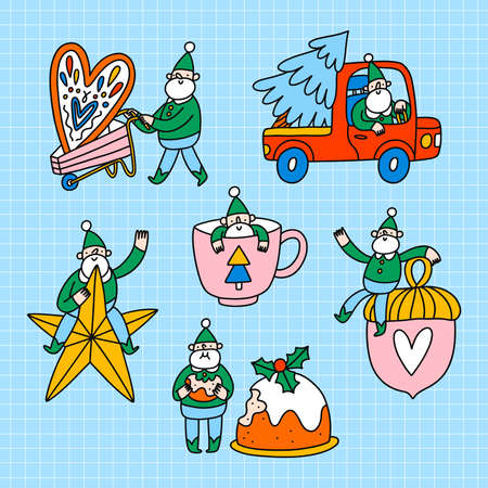 Cute little elfs, Santa helpers with Christmas decorations, cake and tree, vector illustration set