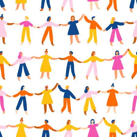 People holding hands, worldwide international friendship, bright vector seamless pattern