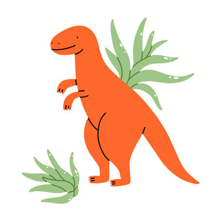 Two tillandsia plants with a cute dinosaur pot, isolated cartoon vector illustration