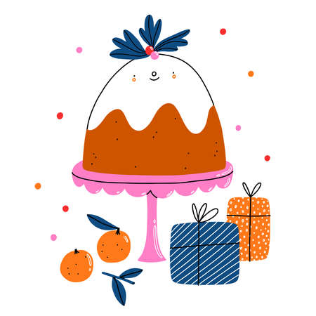 Cute Christmas pudding cartoon character with gifts and confetti, isolated vector illustration