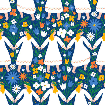 Midsummer festival, summer holiday, dancing girls in flower field, beautiful vector seamless pattern