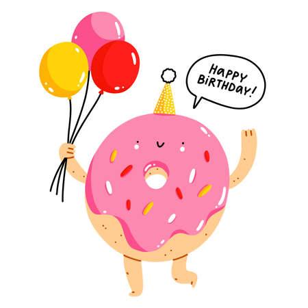 Cute cartoon donut character with balloons, happy birthday isolated vector illustration Иллюстрация