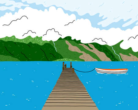 Beautiful lake landscape with wooden bridge, boat and green hill fjords, beautiful view vector illustration