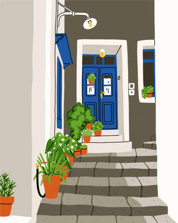 Common South European street, tiny and cozy with a lot of plants, white walls and colorful doors, summer vector illustration Иллюстрация