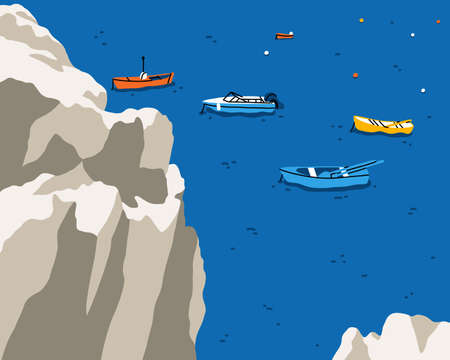 Edge of a cliff above the sea with colorful fishing boats, bright and beautiful summer vector illustration Иллюстрация