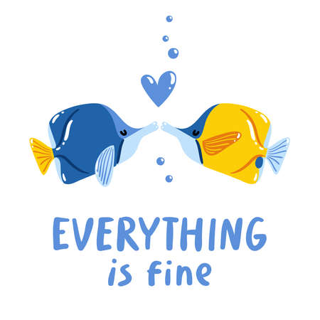 Everything is fine, two fishes kissing, lettering phrase, isolated vector illustration Иллюстрация