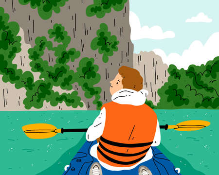Kayaking at beautiful and exotic river, boy in kayak boat, safe sport, vector illustration