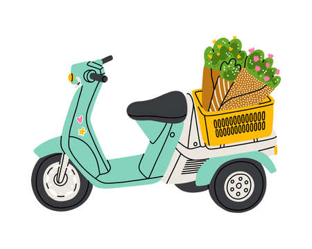 Lovely little mint motorcycle with flowers in a basket, isolated vector illustration