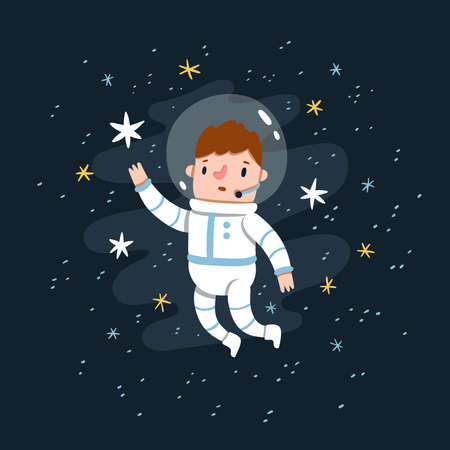 Man in space costume reaching for the stars, stardust background, cartoon vector illustration