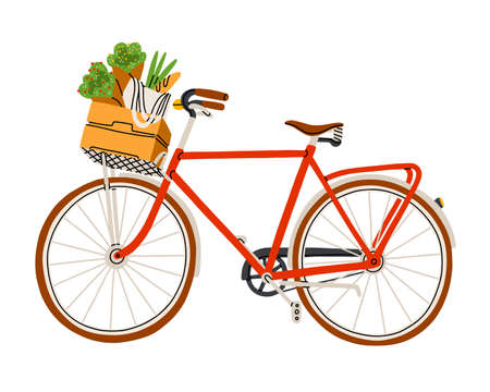 Red bicycle with flowers and groceries in a wooden basket, isolated vector illustration Иллюстрация