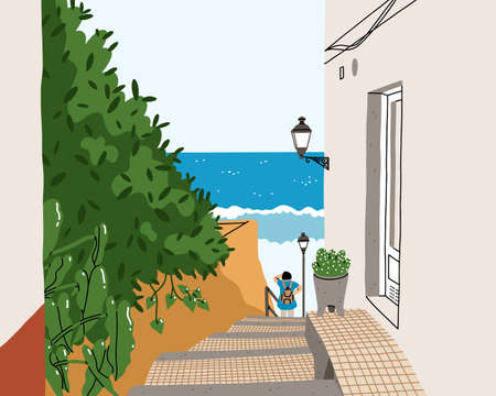 Typical South European street near the ocean, woman looking at the sea, beautiful summer vector illustration