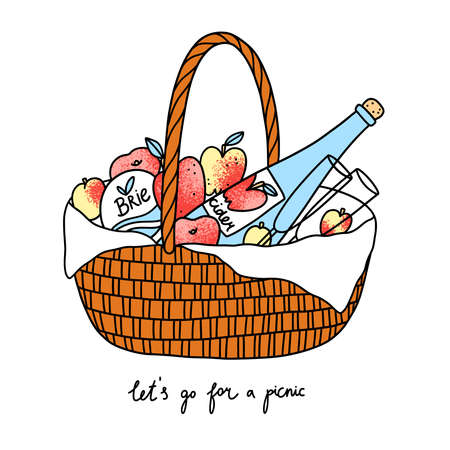 Lets go for a picnic, basket with fruits, cheese and cider, isolated vector illustration