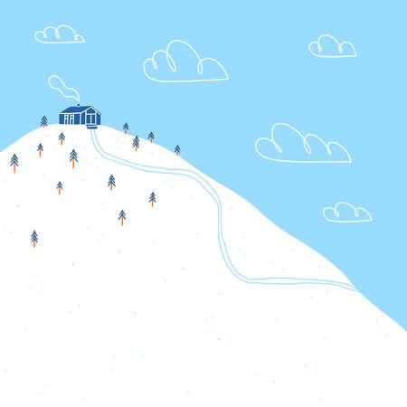 Wooden cottage on a snowy forest hill, cartoon winter vector landscape illustration Иллюстрация