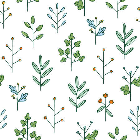 Simple hand drawn floral branches, summer field, vector seamless pattern