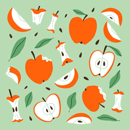 Eaten, bitten and sliced apples composition, vector cartoon set, isolated