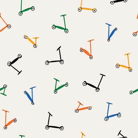 Colorful kick scooters retro, summer vibes, transportation, vector seamless pattern