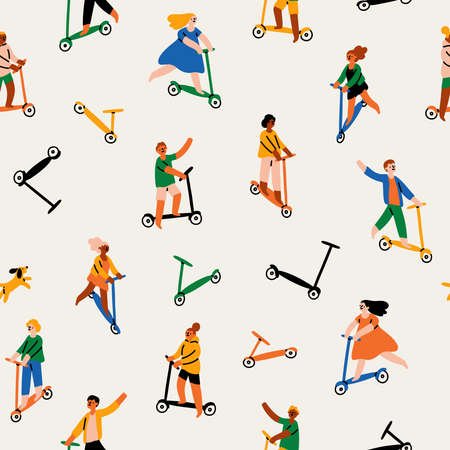 Barefoot skating may be traumatic but also fun, multicultural people riding kick scooters, vector seamless pattern Иллюстрация