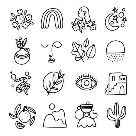 Little modern style black and white outline abstract and isolated illustrations collection, vector set