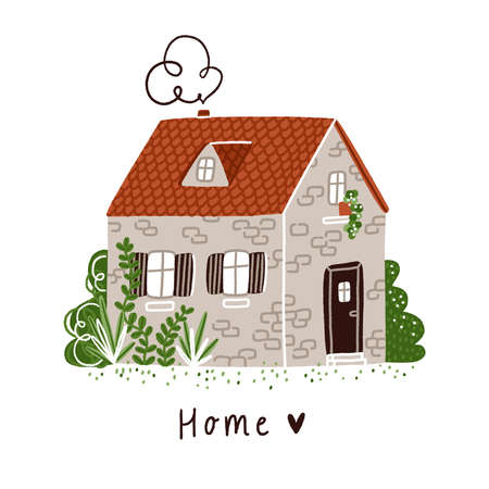 Little old stone bricks country house with plants and red roof, isolated vector illustration