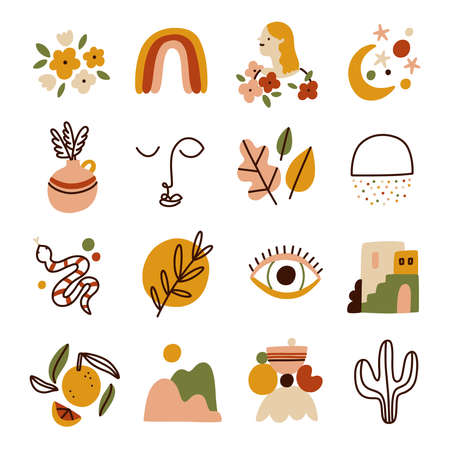 Little modern style colorful abstract and isolated illustrations collection, vector set